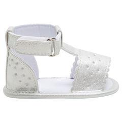 Zilveren sandalen met riem met klittenbandsluiting