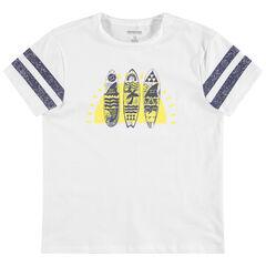 Junior - T-shirt met korte mouwen en print met surfplanken