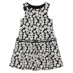 Mouwloze jurk met bloemen van jacquard