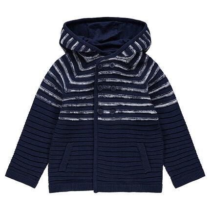 Vest met kap van tricot met strepen van jacquard