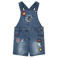 Salopette short en jeans used avec badges patchés Smiley