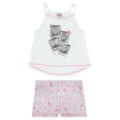 Pyjama met tanktop en short met kattenprint