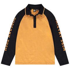 Junior - Polo met lange mouwen van jerseystof in twee kleuren met Smiley-print