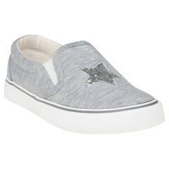 Lage, elastische, linnen sneakers met ster van lovertjes