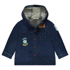 Hemd van jerseystof met lange mouwen en kap en met ©Smiley badges