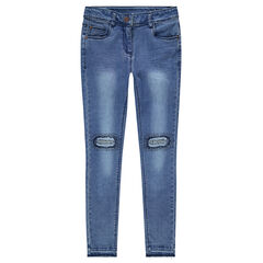 Junior - Slim-fit jeans met used en crink-effect en fantasietjes