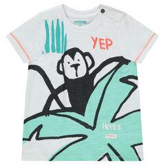 Tee-shirt manches courtes en jersey avec imprimé esprit tropical
