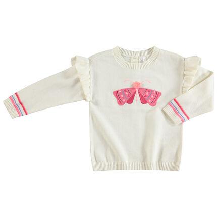 Pull en tricot fin à emmanchures volantées et papillon brodé