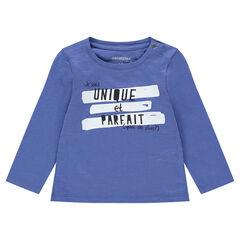 T-shirt met lange mouwen van jerseystof met fantasieprint en kraag met drukknopen