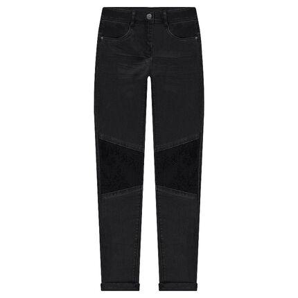 Slim-fit broek met crinkle effect en zwarte lovertjes