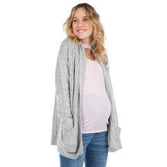 Gilet long de grossesse avec poches plaquées