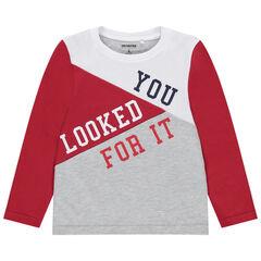 T-shirt manches longues à jeux de contrastes et message printé