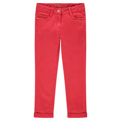 Pantalon en twill coupe slim uni