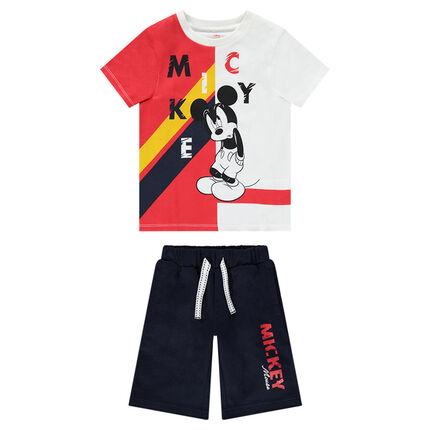 Ensemble van T-shirt met print van Mickey ©Disney in twee kleuren en effen bermuda