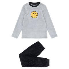 Pyjama met twee kleuren van fleece, met ©Smiley-patch