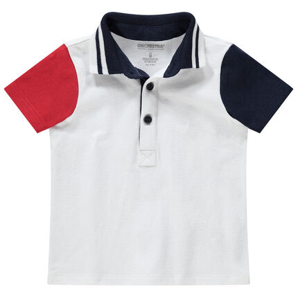 Polo manches courtes contrastées en coton