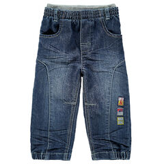 Jeans met used en crinkle effect en dubbele elastische taille