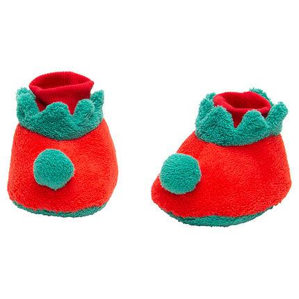 Pantoffels van velours in kerstelfstijl