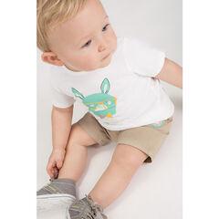 Ensemble avec tee-shirt print lapin et short à poches