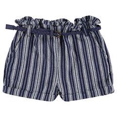Short avec rayures en jacquard et ceinture tressée amovible