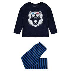 Pyjama van velours met leeuwenprint