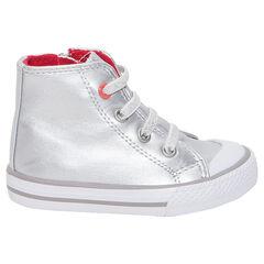 Hoge, zilveren sneakers met ritssluiting en elastische veters
