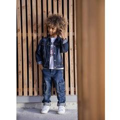 Veste en jean délavé effet usé à poches pour enfant garçon , Orchestra