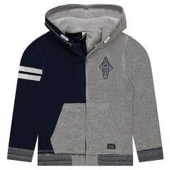 Junior - Vest met kap en ritssluiting met twee kleuren uit molton
