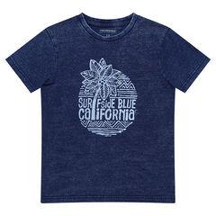 Junior - T-shirt met korte, jeansblauwe mouwen en print in surfstijl