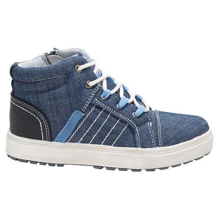 Bottillons effet jeans à lacets et zip du 28 au 35