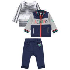 Jogging 3 pièces avec t-shirt rayé, gilet bicolore et pantalon à poche