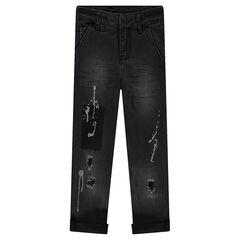Jeans effet used et crinkle avec usures et taches de peinture