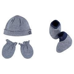 Ensemble avec bonnet moufles et chaussons en jersey