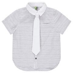 Gestreepte hemd met korte mouwen en effen, afneembare das