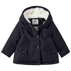 Mantel met kap van wol met sherpavoering