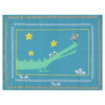 Tapis en coton avec crocodile et oiseau