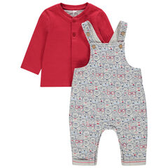 Ensemble avec t-shirt rouge et salopette print oursons all-over