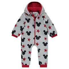 Overpyjama van sherpastof met kap en opgenaaide oren van Disney's Mickey!
