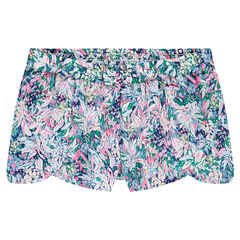 Junior - Soepele short met plantenprint