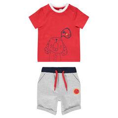 Ensemble van T-shirt met korte mouwen met hondenprint en gemêleerde bermuda