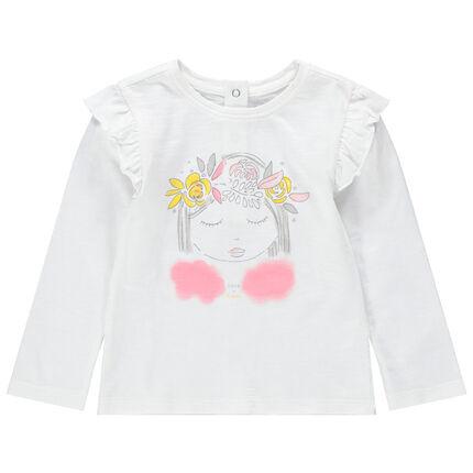 T-shirt manches longues en jersey avec poupée printée