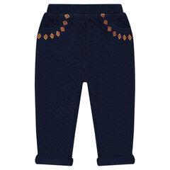 Pantalon en molleton fantaisie avec broderies