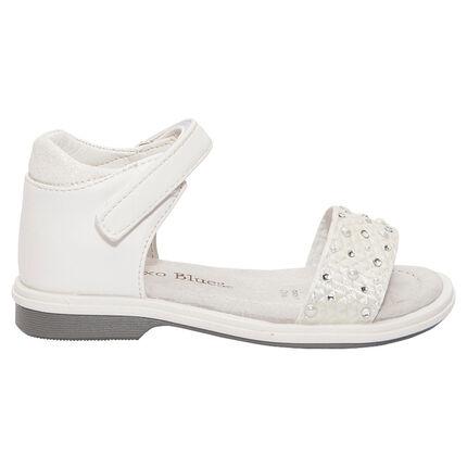 Nu-pieds blancs avec perles fantaisie