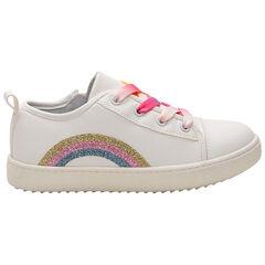 Lage sneakers met geborduurde regenboog en veters met kleureffect , SAXO BLUES