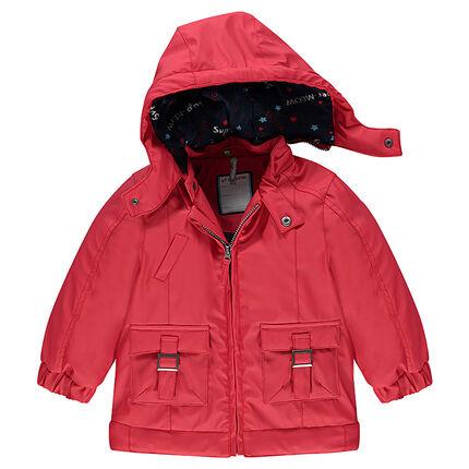 Coupe-vent rouge en gomme doublé jersey avec poches et capuche amovible