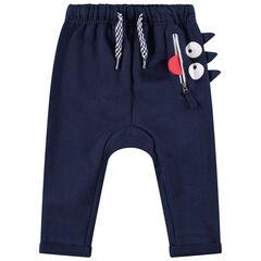 Pantalon de jogging en molleton avec poche zippée et monstre printé