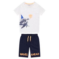 Junior - Pyjama van jerseystof met print met schildpad en bermuda