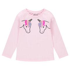 Tee-shirt manches longues en jersey avec licornes brodées et sequins magiques