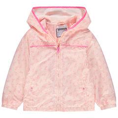 Coupe-vent à capuche imprimé flamants roses all-over