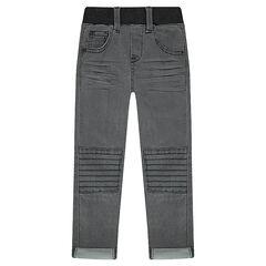 Jeans met used- en crinkle-effect en sierstiksels